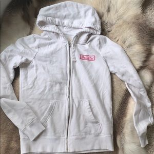 Hollister White zip up hoodie, Sz S
